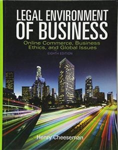 Test Bank for Legal Environment of Business 8th Edition Cheeseman